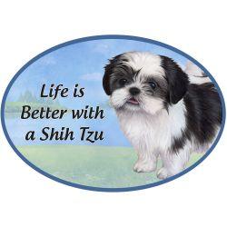 Shih Tzu, black and white puppy cut  Euro Magnet