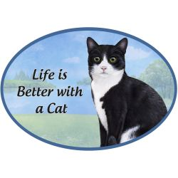 Black and White cat Euro Magnet