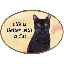 Black cat Euro Magnet