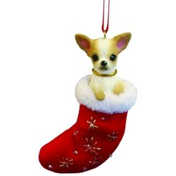 Chihuahua, fawn and white ornament