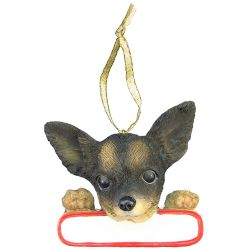 Chihuahua, black and white ornament