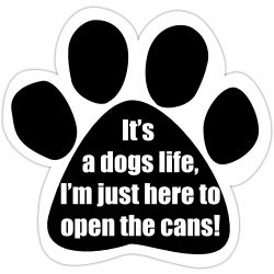 It's a dog's life. I'm just here to open the cans! Car Magnet