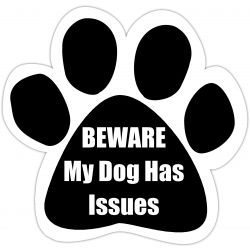Beware my dog has issues Car Magnet
