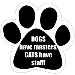 Dogs have masters Cats have staff Car Magnet