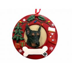 Doberman  Red Wreath Ornament