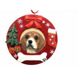 Beagle  Red Wreath Ornament