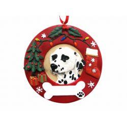 Dalmatian  Red Wreath Ornament