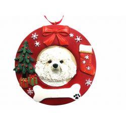Bichon Frise  Red Wreath Ornament