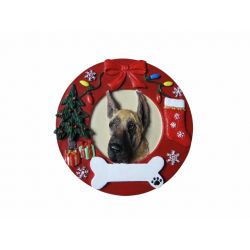 Great Dane, fawn Red Wreath Ornament