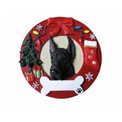 Great Dane, black  Red Wreath Ornament