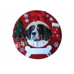 Bernese Mt. Dog  Red Wreath Ornament