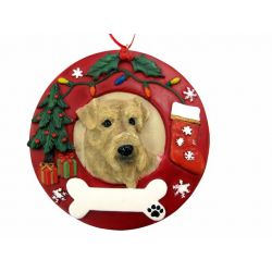 Airedale  Red Wreath Ornament