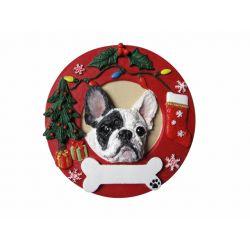 French Bulldog  Red Wreath Ornaments