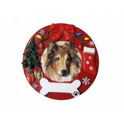 Collie  Red Wreath Ornament