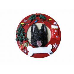 German Shepherd, black Red Wreath Ornament