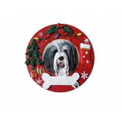 Bearded Collie Red Wreath Ornament
