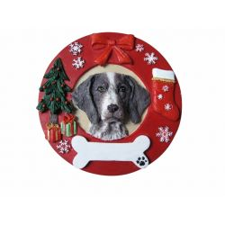 German Shorthair Pointer Red Wreath Ornament
