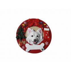 American Eskimo  Red Wreath Ornament