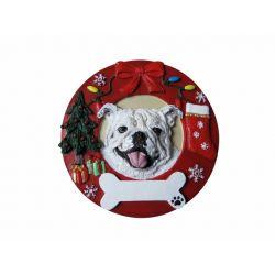Bulldog, white Red Wreath Ornament