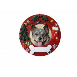 Australian Cattle Dog Red Wreath Ornament