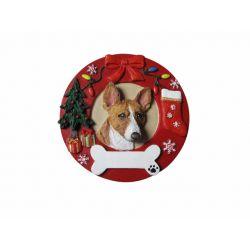 Basenji Red Wreath Ornament