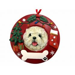 Cairn Terrier Red Wreath Ornament