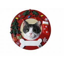 Black and White cat Red Wreath Ornament