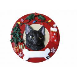 Black cat Red Wreath Ornament