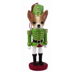 Chihuahua, tan and white Soldier ornament