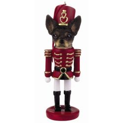 Chihuahua, black and white Soldier ornament