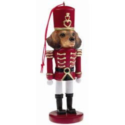 Dachshund, red Soldier ornament