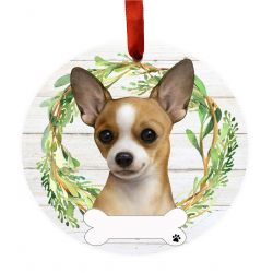 Chihuahua, tan and white Ceramic Wreath Ornament
