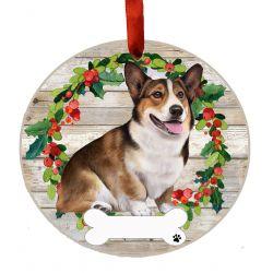 Welsh Corgi, FB Ceramic Wreath Ornament