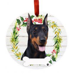 Doberman Ceramic Wreath Ornament