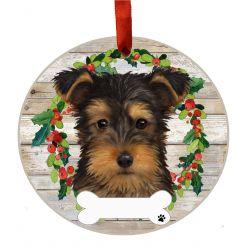Yorkie, puppy cut Ceramic Wreath Ornament