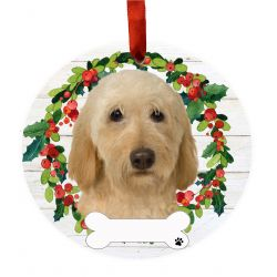Labradoodle, cream Ceramic Wreath Ornament