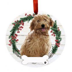 Goldendoodle, Rust FB Ceramic Wreath Ornament