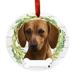 Dachshund, red Ceramic Wreath Ornament