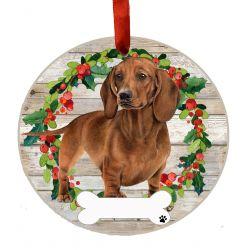 Dachshund, red FB Ceramic Wreath Ornament