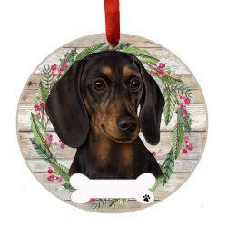 Dachshund, black Ceramic Wreath Ornament