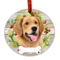 Golden Retriever Ceramic Wreath Ornament