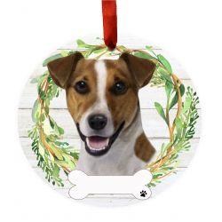 Jack Russell Ceramic Wreath Ornament