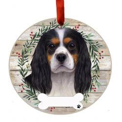 King Charles tri-color Ceramic Wreath Ornament