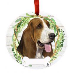 Basset Hound Ceramic Wreath Ornament
