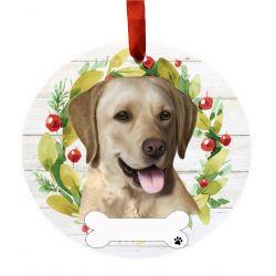 Labrador, yellow Ceramic Wreath Ornament