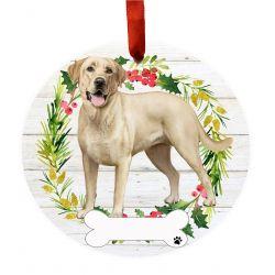 Labrador, yellow, FB Ceramic Wreath Ornament