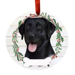 Labrador, black Ceramic Wreath Ornament