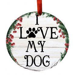I Love My Dog Ceramic Wreath Ornament