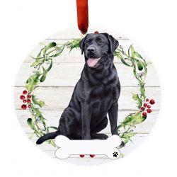 Labrador, black, FB Ceramic Wreath Ornament