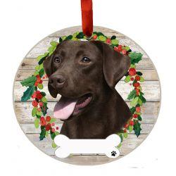 Labrador, chocolate Ceramic Wreath Ornament
